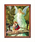 Guardian Angel with children on a footbridge religious image