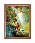 Guardian Angel with playing children religious image