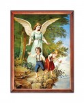 Guardian Angel over the cliff religious image