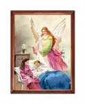 Guardian Angel watching over a sleeping child religious image