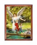Guardian Angel with children on the footbridge religious image