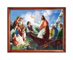 Jesus Christ teaching from a boat religious image