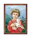 Jesus with the lamb religious image