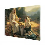 Jesus and the Samaritan woman, print on canvas, wall art