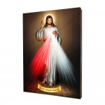 Merciful Jesus painting, print on a linden board