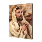 Jesus in a prayer painting, print on a linden board