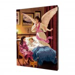 Guardian Angel painting, print on a linden board