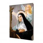 Saint Rita of Cascia painting, print on a linden board