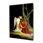 Jesus in Gethsemane painting, print on a linden board