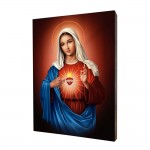 Immaculate Heart of Mary painting, print on a linden board