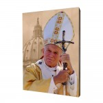 Pope John Paul II painting, print on a linden board