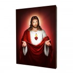 Sacred Heart of Jesus painting, print on a linden board