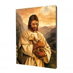 Jesus the Good Shepherd painting, print on a linden board