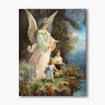 Guardian Angel with children, modern religious plexiglass painting
