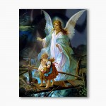 Guardian Angel with children on the bridge, modern religious plexiglass painting