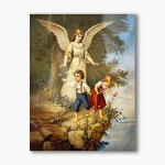 Guardian Angel with children on the cliff, modern religious plexiglass painting