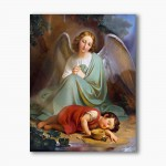 Guardian Angel with a sleeping child, modern religious plexiglass painting