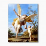 Guardian Angel with a child, modern religious plexiglass painting