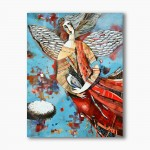 Angel with a dove, abstraction, modern religious plexiglass painting