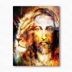 Jesus Lion of Judah, modern religious plexiglass painting