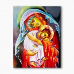 Mother of God with the Child, modern religious plexiglass painting