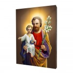 Saint Joseph with Jesus painting, print on a linden board