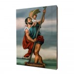 Saint Christopher painting, print on a linden board