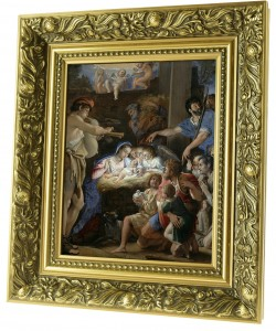 Adoration of Jesus in a stable ceramic painting