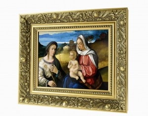 Mary with Jesus and St. Agnes ceramic painting