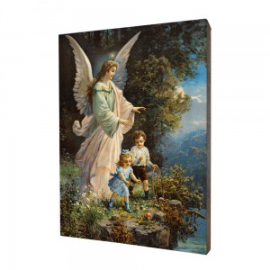Guardian Angel with children painting, print on a linden board