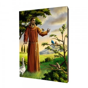 Saint Francis painting, print on a linden board