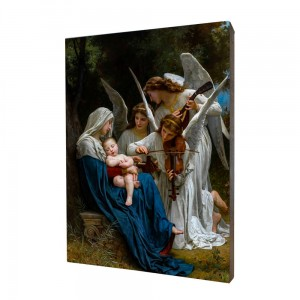 Song of Angels painting, print on a linden board