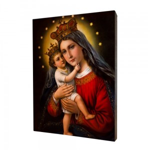 Mother of God painting, print on a linden board