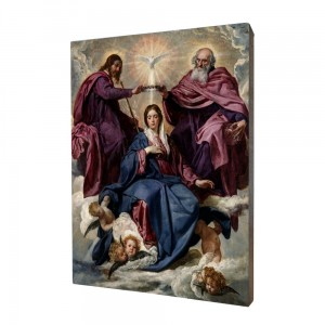 Coronation of the Mother of God painting, print on a linden board