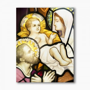 Holy Family stained glass, modern religious plexiglass painting