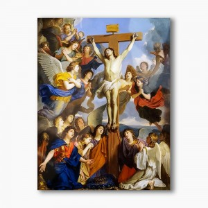Crucified Christ with angels, modern religious plexiglass painting