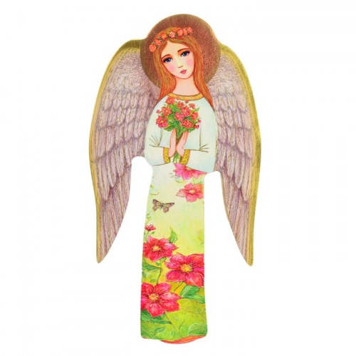 Guardian Angel with a bouquet handmade Icon